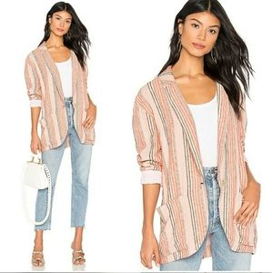Free People Simply Stripe Oversized Linen Blazer